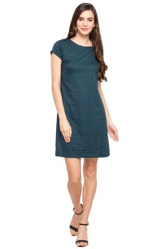Buy Austin Reed Womens Round Neck Checked A Line Dress Shoppers Stop