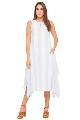 Womens Key Hole Neck Stripe Asymmetrical Midi Dress