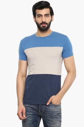 Mens Round Neck Color Block T-shirt