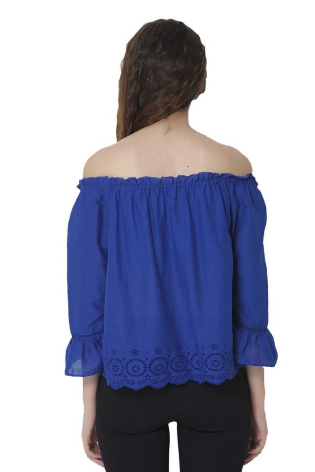 Womens Off Shoulder Neck Solid Top