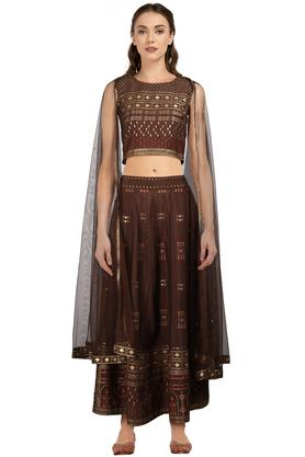Womens Round Neck Printed Ghaghra Choli Dupatta Set