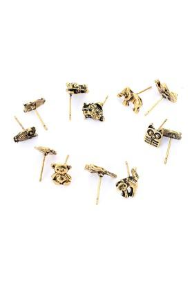Womens Gold Plated Metal Studs Earrings - Pack Of 6
