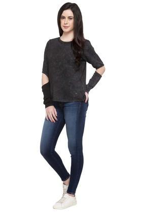 Womens Round Neck Textured Sweatshirt