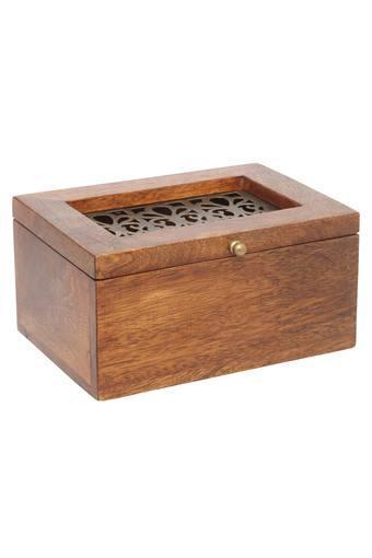 Vintage Rectangular Cutwork Wooden Box
