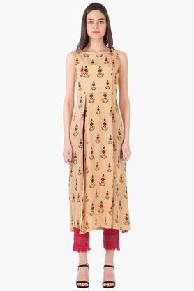 INDYA Womens Round Neck Printed Regular Fit Kurta - 203316791