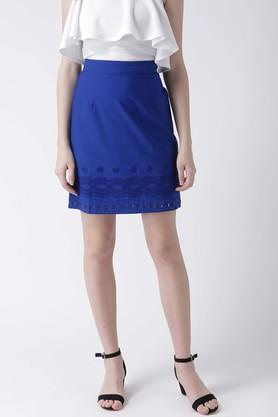 MSFQWomens Embroidered Knee Length Skirt