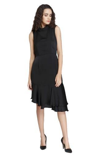Womens High Neck Solid Asymmetrical Dress