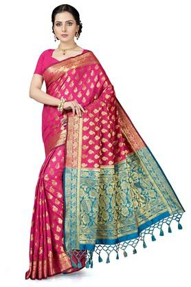 ISHINWomens Gold Woven Saree With Blouse Piece - 204668417_9552