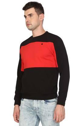 Mens Round Neck Colour Block Sweatshirt