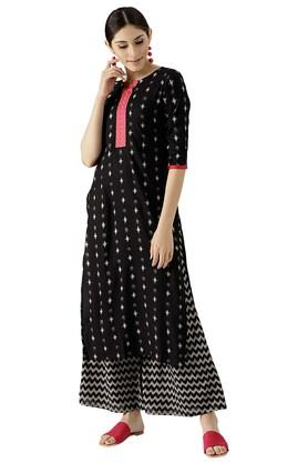 LIBAS Womens Cotton Printed Kurta With Palazzo - 204186239_9212