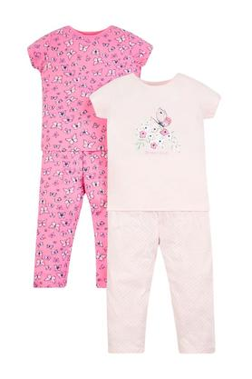 Girls Round Neck Printed Pants and Top - Pack Of 2