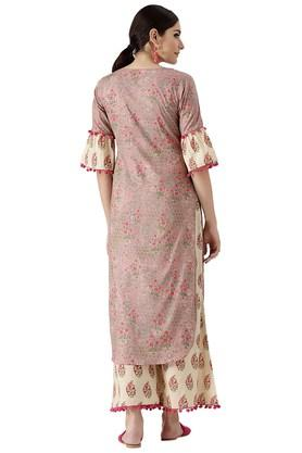 Womens Cotton Printed Pathani Kurta And Palazzo