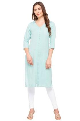Womens V Neck Solid Kurta