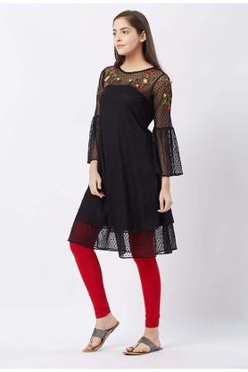 Womens Round Neck Embroidered A-Line Dress