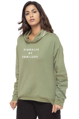 Womens Hooded Neck Graphic Print Sweatshirt