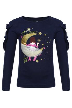 Girls Round Neck Printed Applique Top