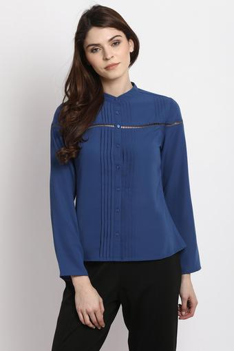Womens Band Neck Solid Shirt