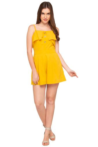 Womens Spaghetti Neck Solid Playsuit