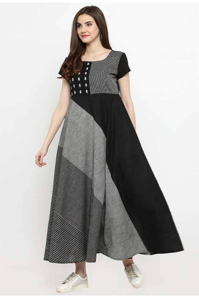 Women Cotton Blend Geometric Print Maxi dress