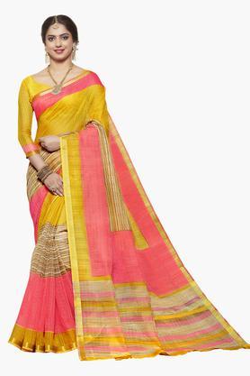 ISHINWomens Art Silk Striped Saree