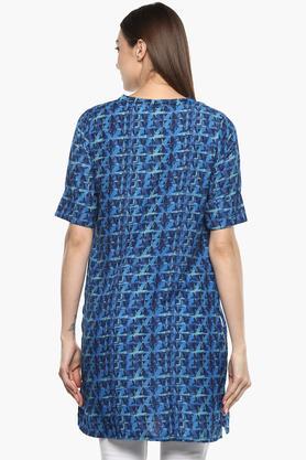Womens Mandarin Collar Printed Tunic