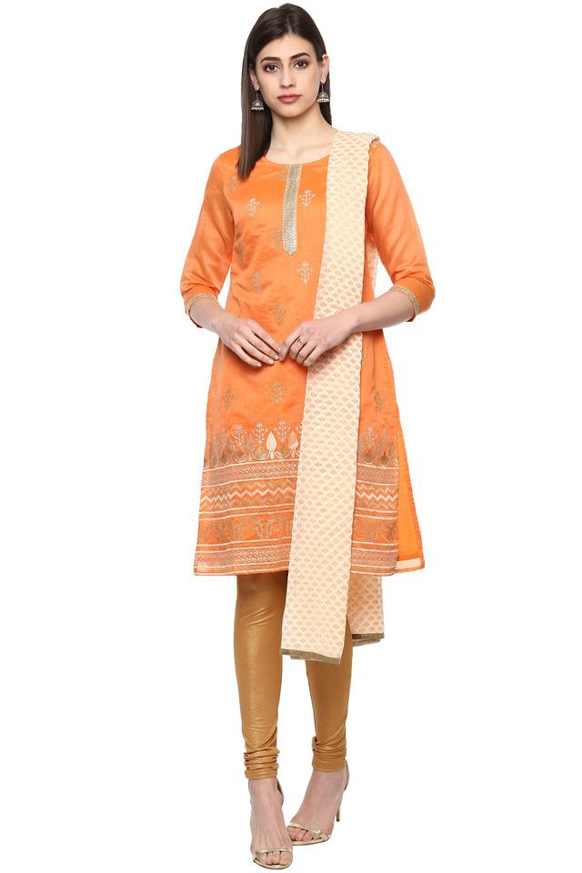 Womens Round Neck Embroidered Churidar Suit