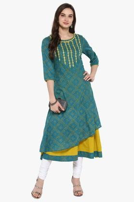 JUNIPER Womens Zig-Zag Dobby Embroidered Anarkali Kurta With Dori Tie-Up