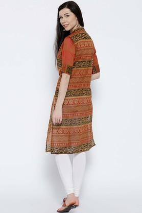 Chanderi Cotton Tribal Mandarin Collar Kurta