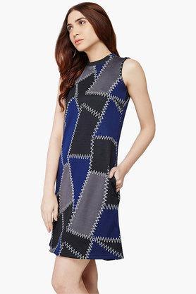 Womens Geometric Print A Line Dress