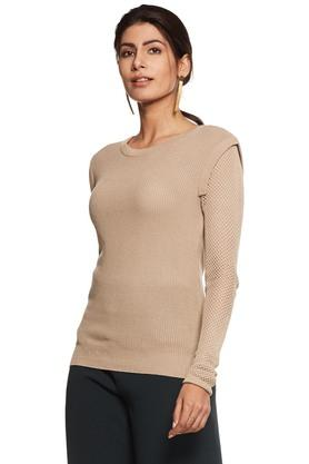 RHESONWomen Crochet Sleeve Sweater