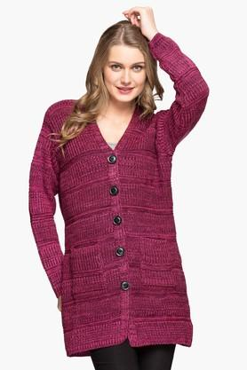 ONER Womens V-neck Self Pattern Cardigan