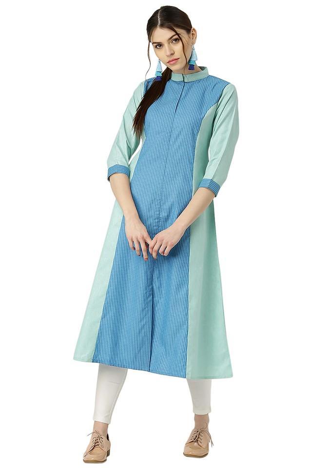 Womens Cotton Solid Checks A-line Kurta