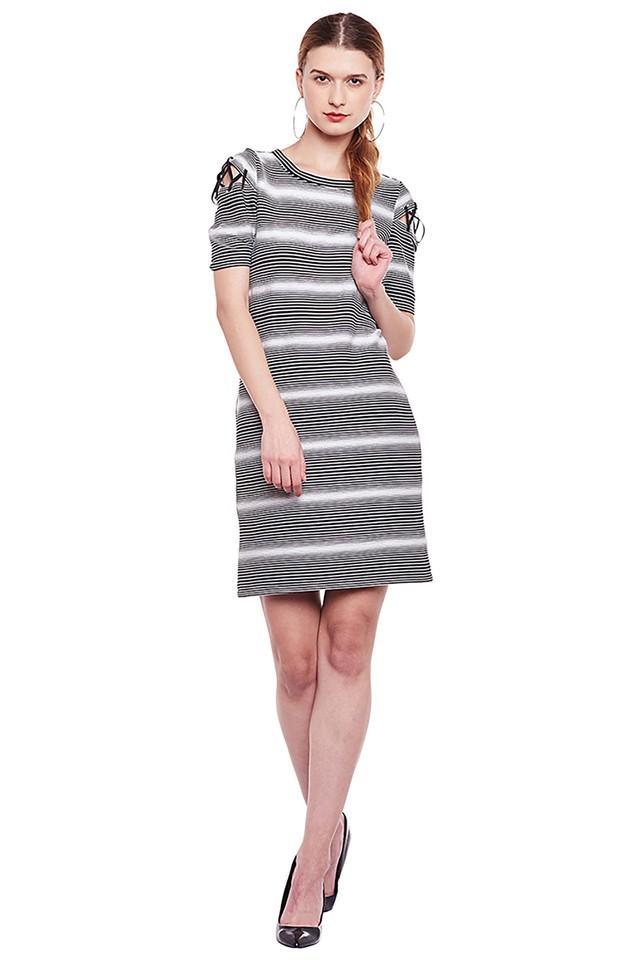 Womens Round Neck Striped Bodycon Dress