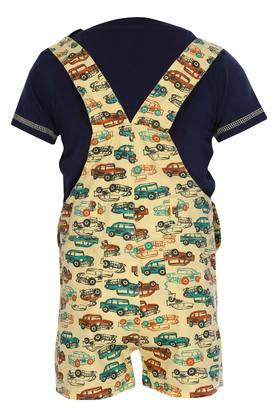 Boys Round Neck Solid Top and Printed Dungaree