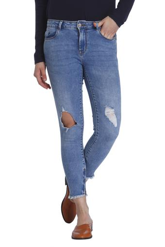 Womens Distressed Skinny Fit Jeans