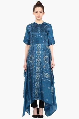 LABEL RITU KUMAR Womens Crew Neck Printed Kurta