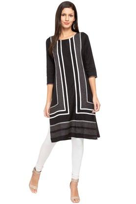 IMARA Womens Round Neck Stripes Kurta