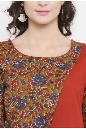Women Cotton print Straight Kurta