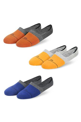 Unisex Colour Block No Show Socks - Pack of 3