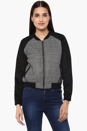 Womens Zip Through Neck Printed Bomber Jacket