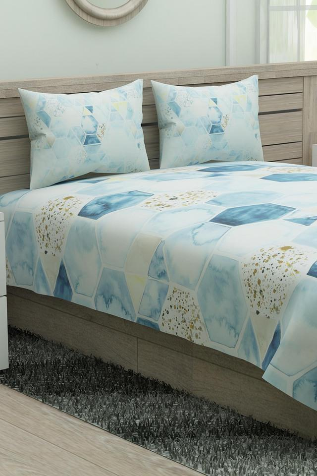 Geometric King Bed Sheet with Pillow Cover