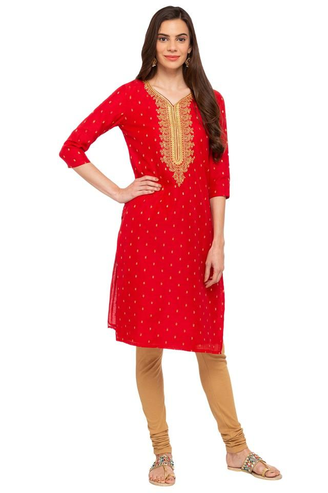 Womens V-Neck Embroidered Kurta