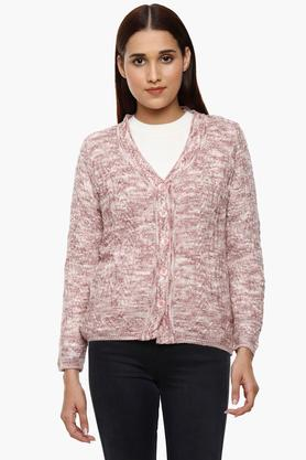 MONTE CARLO Womens V-Neck Knitted Pattern Cardigan - 204635206_9557