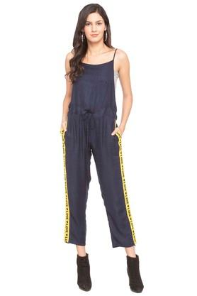 Womens Strappy Neck Solid Jumpsuit