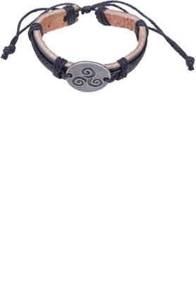 Mens Spiral Charm Leather Bracelet