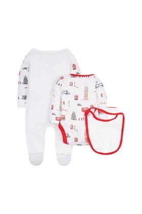 Kids Round Neck Printed Babysuits With Bibs - Set Of 3