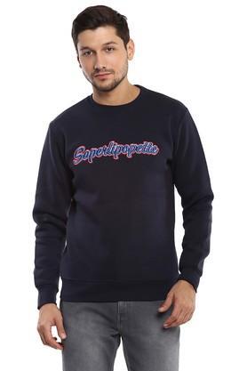 Mens Round Neck Embroidered Sweatshirt
