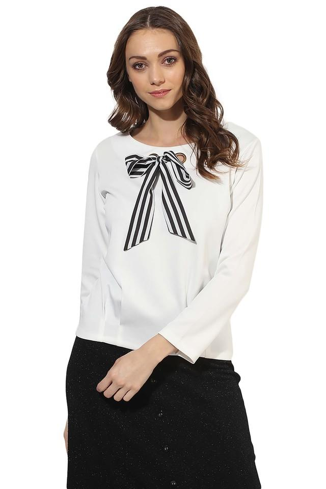 Womens Round Neck Solid Bow Top