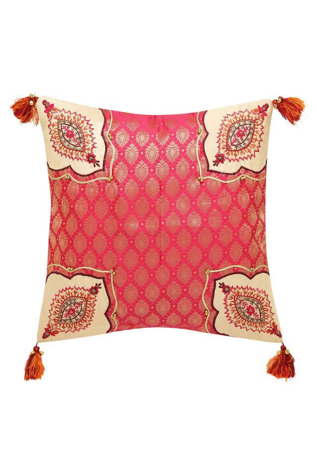 Square Gold Woven Resham Embroidered Cushion Cover