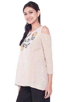Womens Tie Up Neck Check Embroidered Top